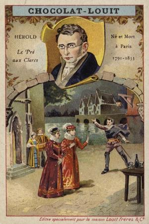 Ferdinand Herold, French Composer, and a Scene from His Opera Le Pre Aux Clercs--Framed Giclee Print