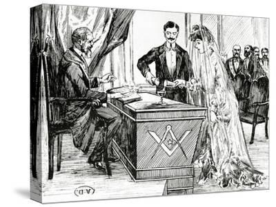 Mixing Wine and Water to Symbolise Union at a Masonic Wedding in France, C.1900--Stretched Canvas Print
