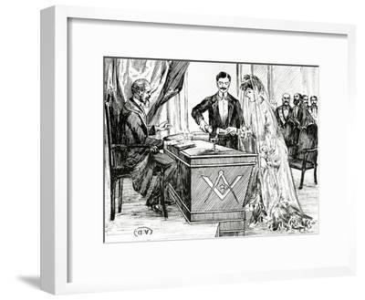 Mixing Wine and Water to Symbolise Union at a Masonic Wedding in France, C.1900--Framed Giclee Print