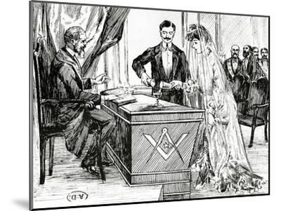 Mixing Wine and Water to Symbolise Union at a Masonic Wedding in France, C.1900--Mounted Giclee Print