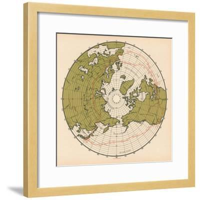 Map Showing the Route Taken by LZ 127 Graf Zeppelin on its Passage around the Globe in 1929, 1932--Framed Giclee Print
