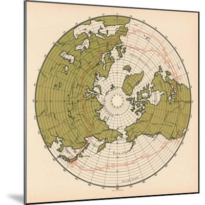 Map Showing the Route Taken by LZ 127 Graf Zeppelin on its Passage around the Globe in 1929, 1932--Mounted Giclee Print