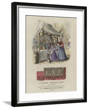 Toy Seller's Stall, 17th Century, and Decoration from a Book of Hours, 1520--Framed Giclee Print