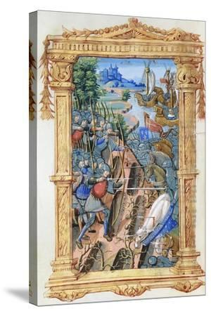 Battle Scene Between Archers and Cavalry, with Castle and Ships, C.1495-1500--Stretched Canvas Print