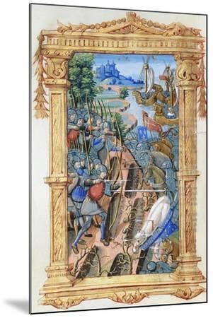 Battle Scene Between Archers and Cavalry, with Castle and Ships, C.1495-1500--Mounted Giclee Print