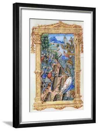 Battle Scene Between Archers and Cavalry, with Castle and Ships, C.1495-1500--Framed Giclee Print