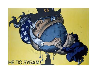 American and Chinese Imperialism Attempting to Devour the World, Soviet Poster, 1970S--Framed Giclee Print