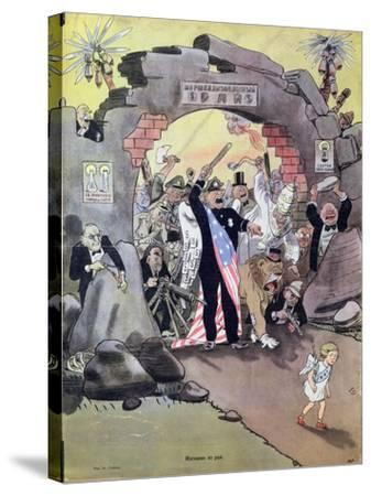Peace Banished from the Paradise of the Marshall Plan, Caricature from 'Krokodil', C.1950--Stretched Canvas Print