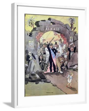Peace Banished from the Paradise of the Marshall Plan, Caricature from 'Krokodil', C.1950--Framed Giclee Print