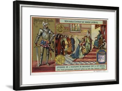 The Three Princesses Pleading for Mercy on Behalf of the People of Ghent, 1385--Framed Giclee Print