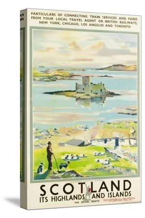 Scotland, Kishmul Castle Isle of Barra, Poster Advertising British Railways, 1952--Stretched Canvas Print