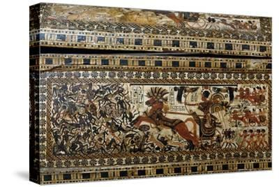 Tutankhamun in Battle, Detail from Painted Casket from Tomb of Tutankhamun--Stretched Canvas Print