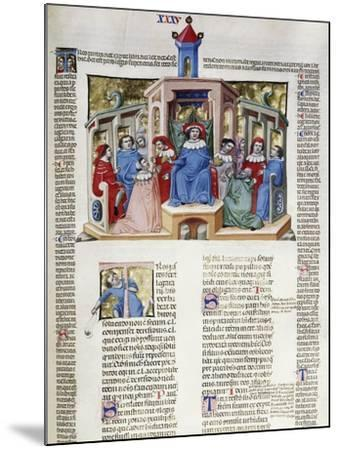 Jurist Delivering His Response from the Chair, Miniature from Corpus Juris Civilis--Mounted Giclee Print