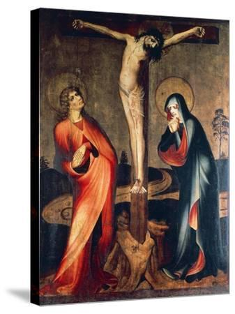 Crucifixion of Christ with Mary and St. John, Circa 1400--Stretched Canvas Print