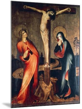 Crucifixion of Christ with Mary and St. John, Circa 1400--Mounted Giclee Print
