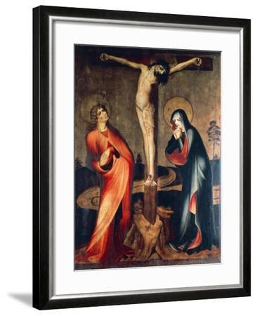 Crucifixion of Christ with Mary and St. John, Circa 1400--Framed Giclee Print
