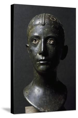 Girl's Head in Bronze--Stretched Canvas Print