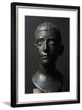 Girl's Head in Bronze--Framed Giclee Print