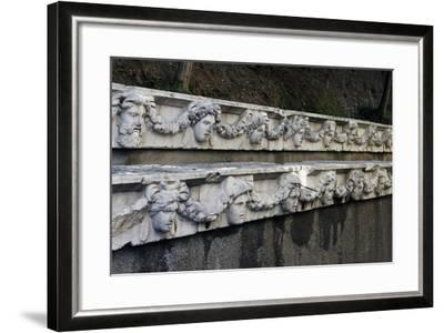 Marble Frieze with Male Heads and Fruit Garlands--Framed Giclee Print