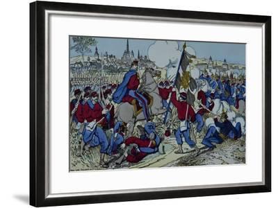 Ricciotti Garibaldi Brings the Flag of the 61 Regiment of Pomeranian--Framed Giclee Print