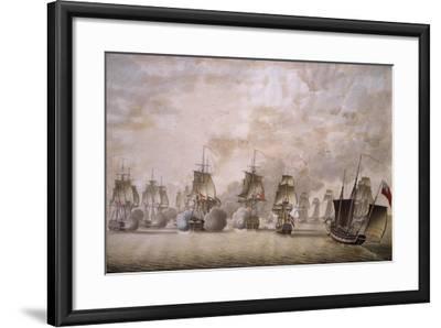 Freya Frigate under Command of Captain Krabbe Attacking British Ships--Framed Giclee Print