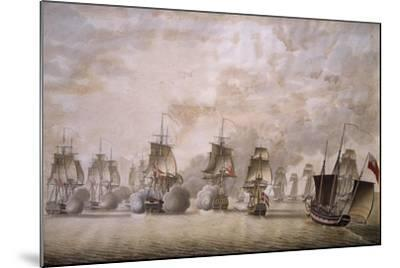Freya Frigate under Command of Captain Krabbe Attacking British Ships--Mounted Giclee Print