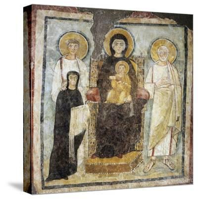 Madonna and Child Between Saints Felix and Adautto and Donor Turtura--Stretched Canvas Print