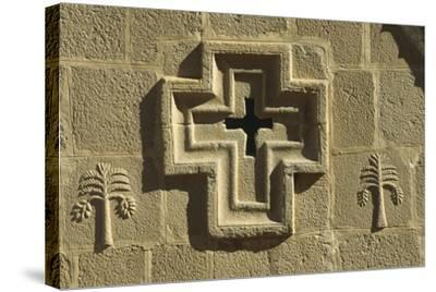 St Catherine's Monastery, Detail of Church Facade with Cross--Stretched Canvas Print