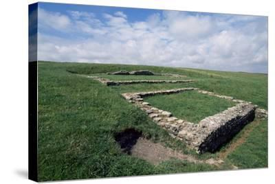 Ruins of the Roman Temple in the Prehistoric Fortress of Maiden Castle--Stretched Canvas Print