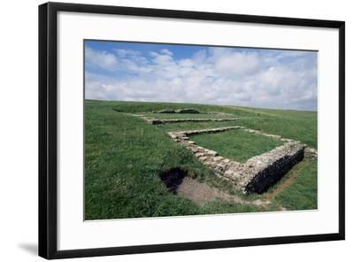Ruins of the Roman Temple in the Prehistoric Fortress of Maiden Castle--Framed Giclee Print