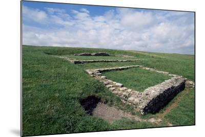 Ruins of the Roman Temple in the Prehistoric Fortress of Maiden Castle--Mounted Giclee Print