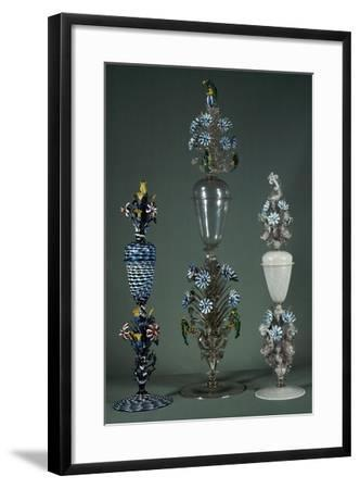 Glass Goblets with Lid and Decorated with Flowering Branches in Polychrome Enamel--Framed Giclee Print