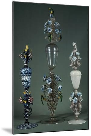 Glass Goblets with Lid and Decorated with Flowering Branches in Polychrome Enamel--Mounted Giclee Print