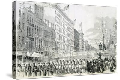 The Seventh Regiment Leaving for the Front Crossing Broadway in New York from Harper's Weekly--Stretched Canvas Print
