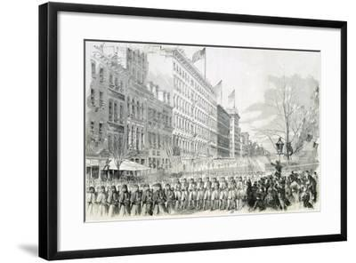 The Seventh Regiment Leaving for the Front Crossing Broadway in New York from Harper's Weekly--Framed Giclee Print