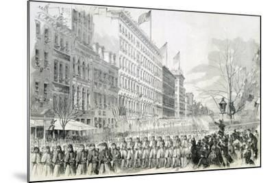 The Seventh Regiment Leaving for the Front Crossing Broadway in New York from Harper's Weekly--Mounted Giclee Print