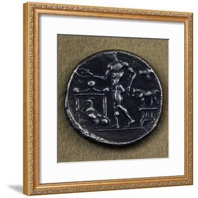Silver Tetradrachm Depicting Young Man Making Offering in Front of Altar--Framed Giclee Print