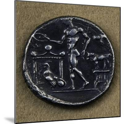 Silver Tetradrachm Depicting Young Man Making Offering in Front of Altar--Mounted Giclee Print