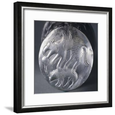 Embossed Silver Bottom of Vase Depicting Mythical Animal Attacking Another--Framed Giclee Print