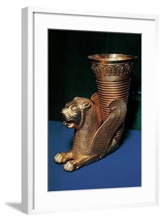 Gold Rhyton in the Shape of Winged Lion and Decorated with Lotus Flowers--Framed Giclee Print
