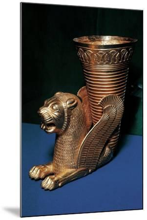 Gold Rhyton in the Shape of Winged Lion and Decorated with Lotus Flowers--Mounted Giclee Print