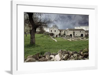 Rustic Farmhouses Incorporating Stones from the Near Ancient Roman City of Saepinum--Framed Giclee Print