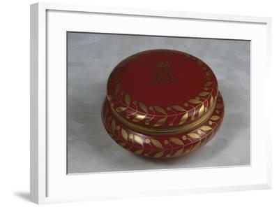 Red Decorative Sweet-Box with Gilt Leaves on Rounded Edge and Noble Coat of Arms with Rg Monogram--Framed Giclee Print
