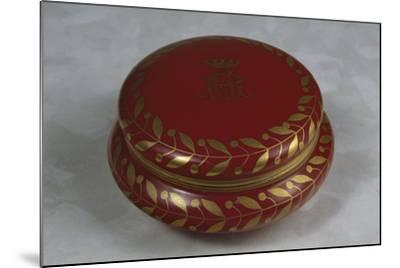 Red Decorative Sweet-Box with Gilt Leaves on Rounded Edge and Noble Coat of Arms with Rg Monogram--Mounted Giclee Print