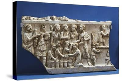Polychrome Marble Gravestone with Frieze Depicting Scenes from New Testament--Stretched Canvas Print
