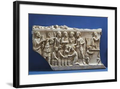Polychrome Marble Gravestone with Frieze Depicting Scenes from New Testament--Framed Giclee Print