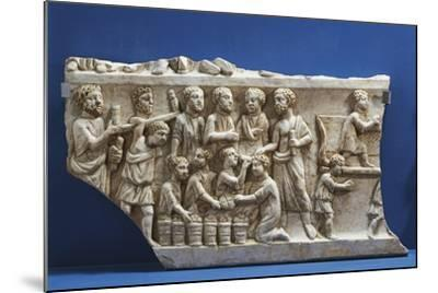 Polychrome Marble Gravestone with Frieze Depicting Scenes from New Testament--Mounted Giclee Print