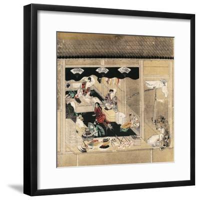 Shokunin Zukushi-E, Craftsmen at Work, Fan Makers, Detail from Screen, Japan, Edo Period--Framed Giclee Print