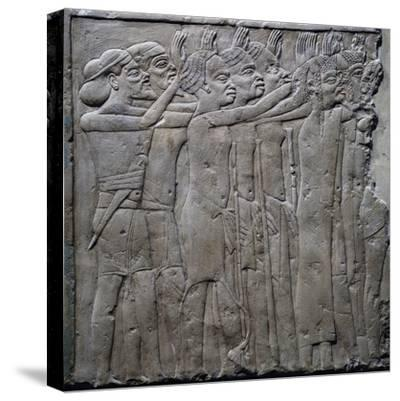 Foreign Princes Pay Tribute to Pharaoh Tutankhamun, Relief from Tomb of Horemheb, Saqqara--Stretched Canvas Print