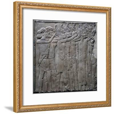 Foreign Princes Pay Tribute to Pharaoh Tutankhamun, Relief from Tomb of Horemheb, Saqqara--Framed Giclee Print